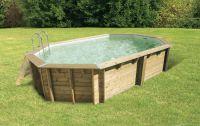 Ubbink Zwembad Océa 610 x 400 x 130 cm hoog Grijze folie compleet met alle toebehoren