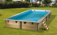 Ubbink Zwembad linéa 650 x 350 x 140 cm hoog Grijze folie compleet met alle toebehoren