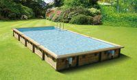 Ubbink Zwembad linéa 800 x 500 x 140 cm hoog Grijze folie compleet met alle toebehoren